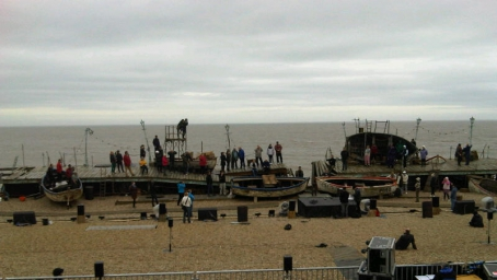 Grimes on the beach at Aldeburgh